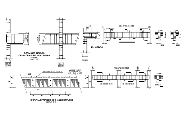 Column and beam structure detail sectional layout file