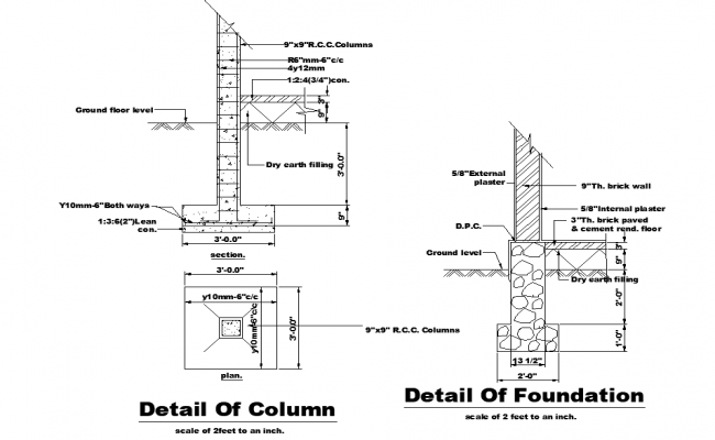 Column and foundation detail dwg file