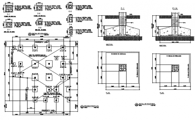 Column and foundation plan and section detail dwg file
