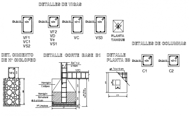 Column and foundation plan detail dwg file