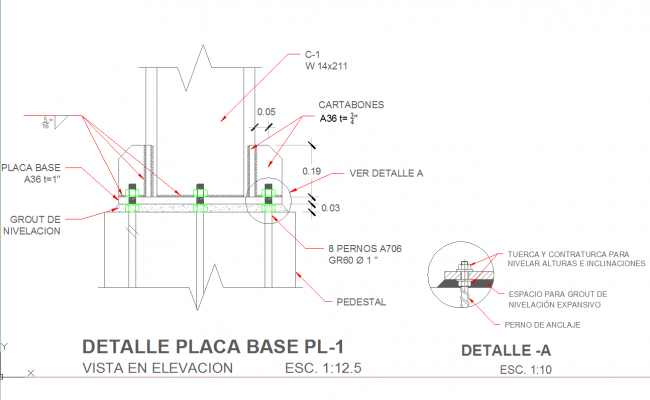 Steel structure details and column details dwg