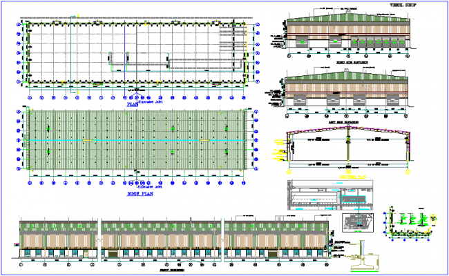 Column and wall view of wheel shop plan and elevation dwg file