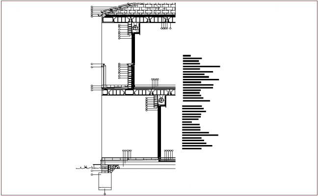 Column and walls elevation with floor and ground level dwg file