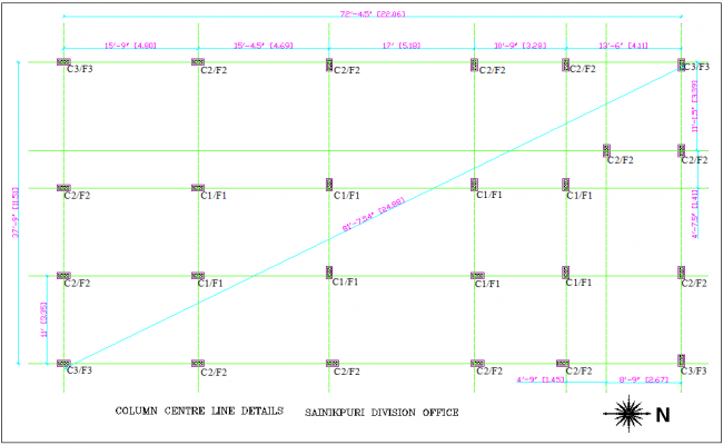 Column center line detail with column view for Soldier's division office dwg file