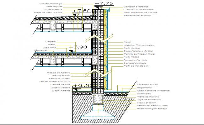 Column construction details of court room dwg file