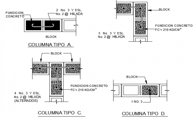 Column construction details of room dwg file