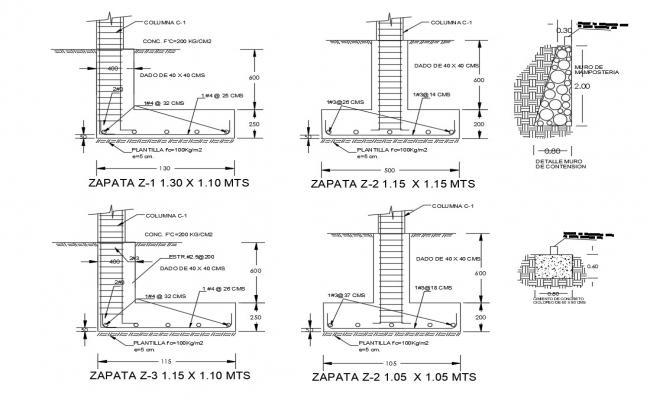 Column constructive structure details of office building dwg file