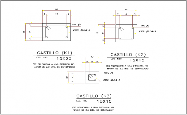 Column cross section view detail dwg file
