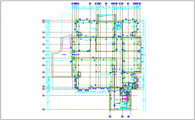 Column design view of basement floor plan dwg file