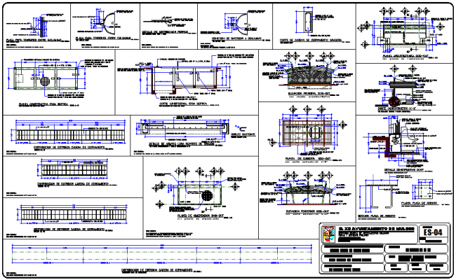 Column detail of structural view of stadium dwg file