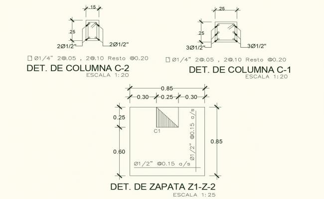 Column detail view with structure view dwg file