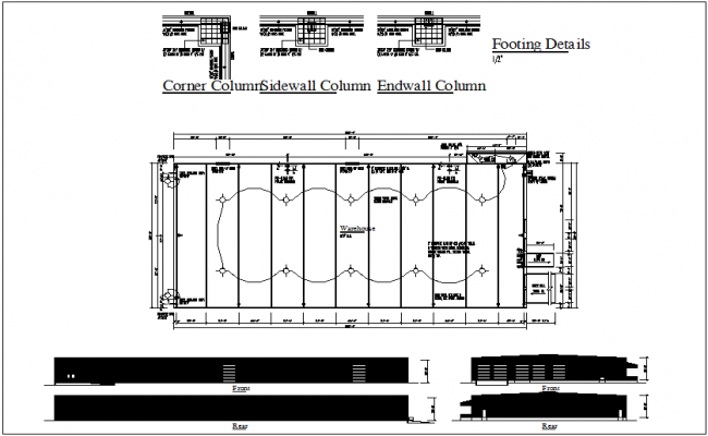 Column detail with sodium vapor ceiling lamp mounting view dwg file