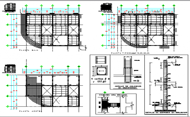 Column detailed finishes of multi-flooring building project dwg file