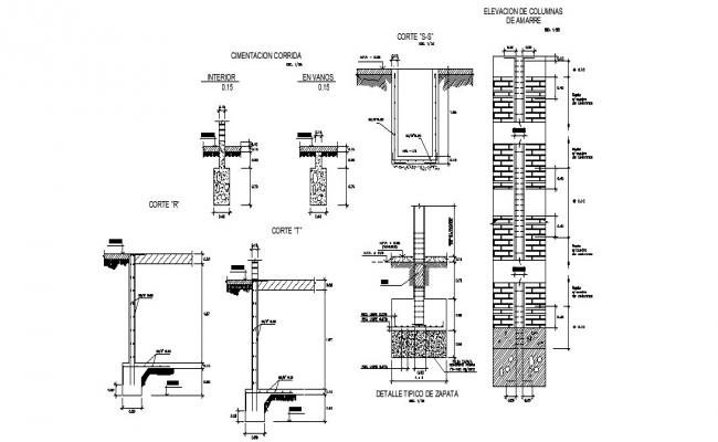 Column elevation, plan and constructive structure details dwg file
