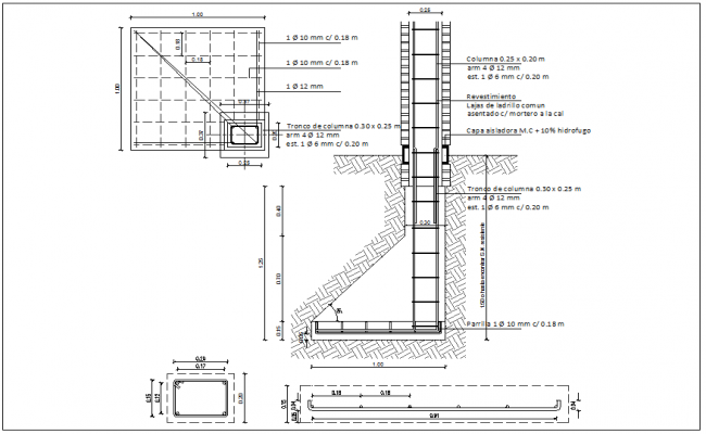 Column foundation detail view information dwg file