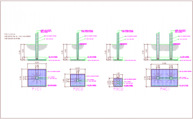 Column foundation view with structure view of office dwg file