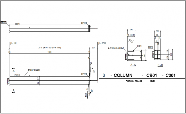 Column mounting view with column detail for structural design dwg file