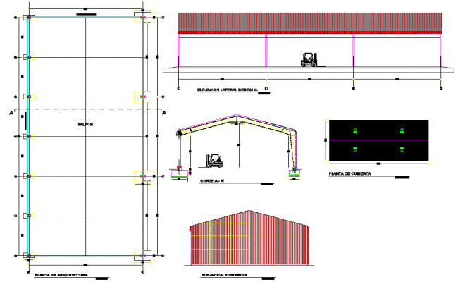 Column plan, elevation and section detail dwg file