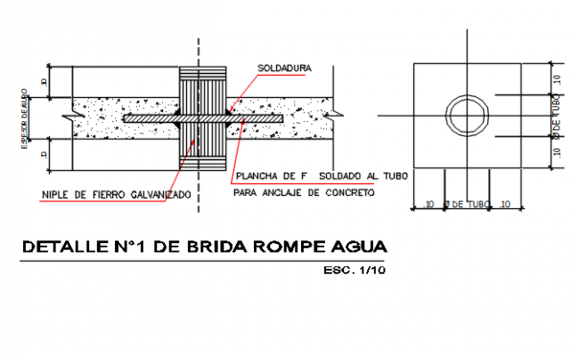 Column plan and section detail