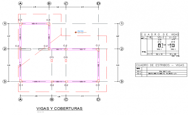 Column plan and section plan autocad file