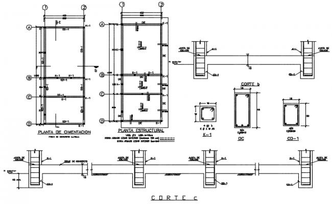 Column plan detail dwg file