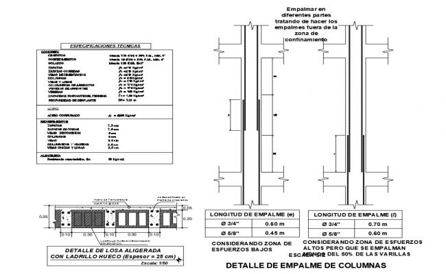 Column section and construction cad drawing details dwg file