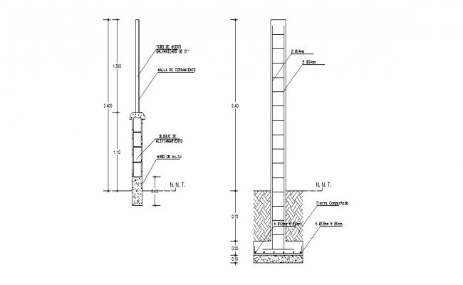 Column section and construction drawing details dwg file