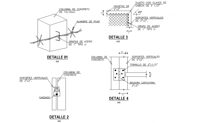 Column section and plan autocad file