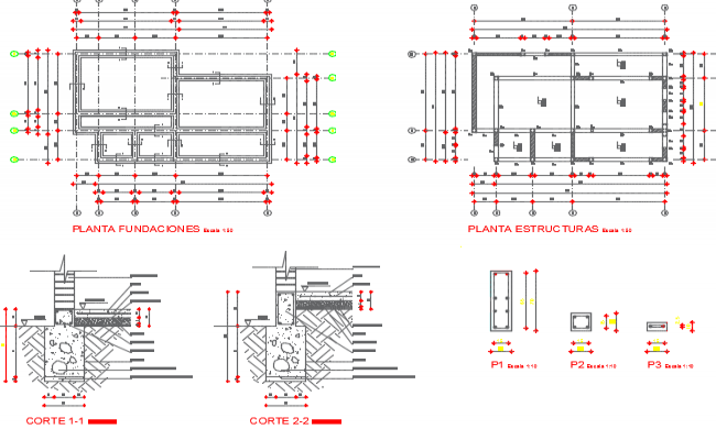 Column section and plan detail dwg file