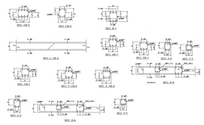 Column section and reinforcement structure cad drawing details dwg file