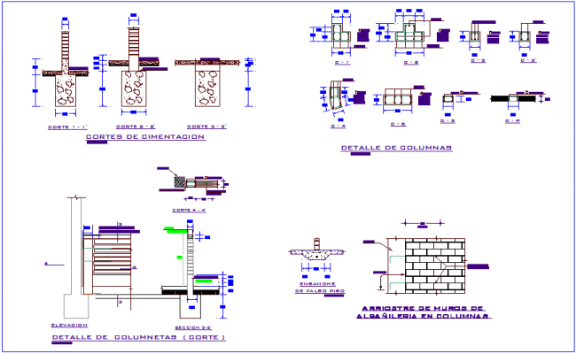Column section detail view with structural detail view for classroom dwg file