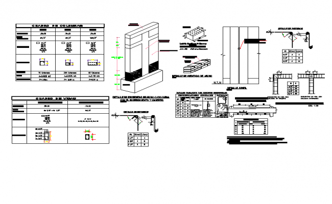 Column section plan autoacd file