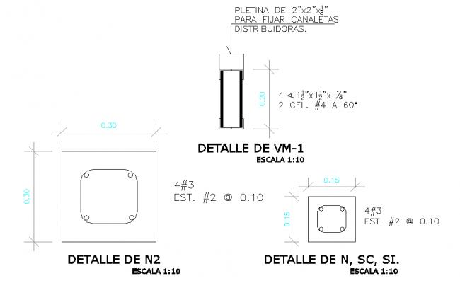 Column section plan autocad file