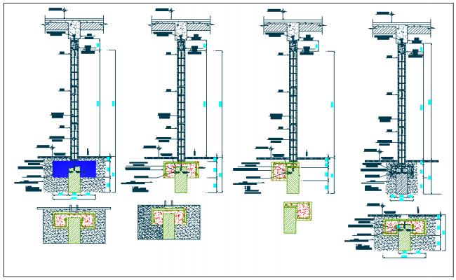 Column section plan detail view dwg file