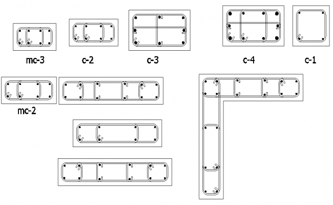 Column section plan dwg file