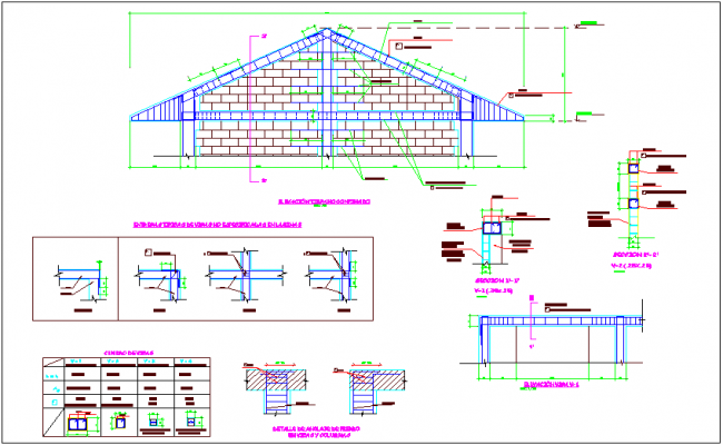 Column structural design of timpani confinement detail view dwg file