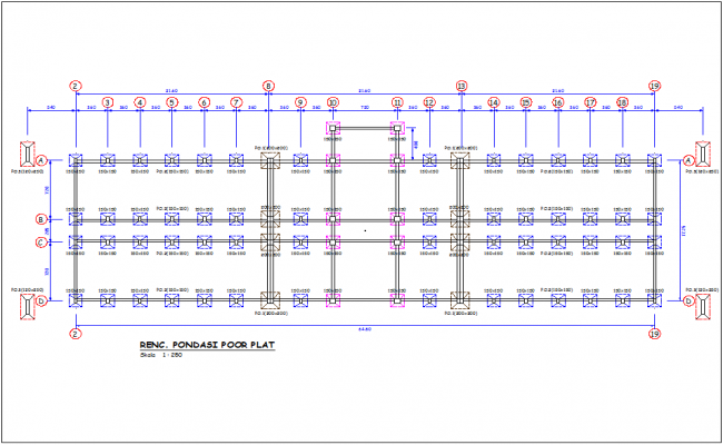 Column view in plan with construction detail of government building auto cad file