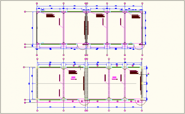 Column view of school classroom plan dwg file