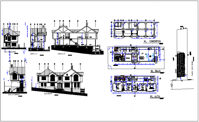 Column view with  sectional view with plan and elevation for house design dwg file