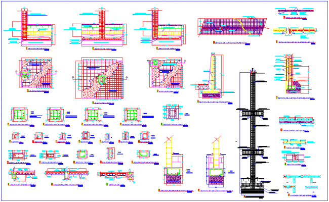 Column view with its section view with structural view for bank design dwg file