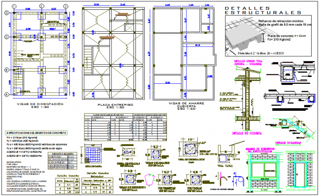 Column view with plan and sectional view of column with stair structural view for house dwg file