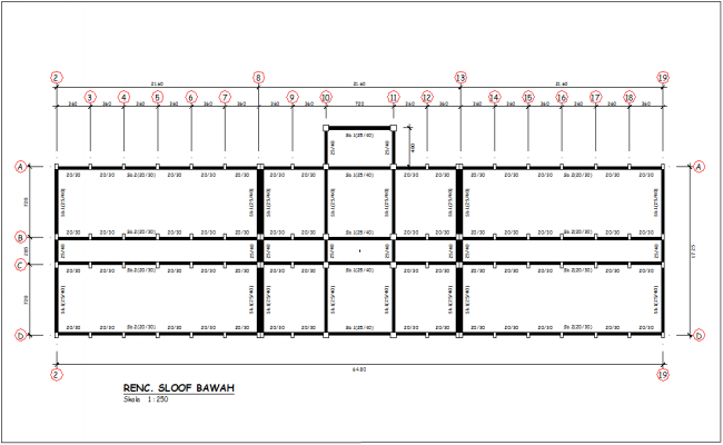 Column view with spoof below for head quarter design view dwg file