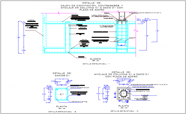 Column view with structural detail dwg file