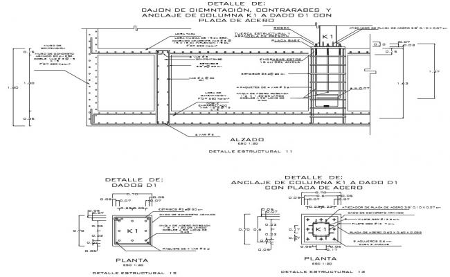 Combined Column Footing CAD drawing