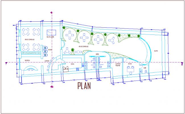 Comm unitary center plan dwg file