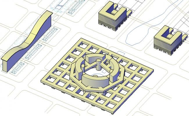 Commerce Building 3d model AutoCAD Drawing