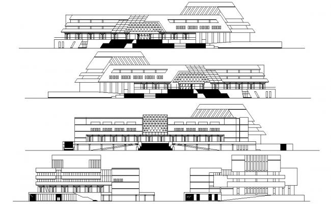 Commerce Building Elevation AutoCAD Drawing