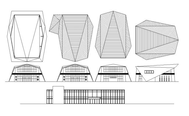 Commerce Building Elevation Design CAD Drawing