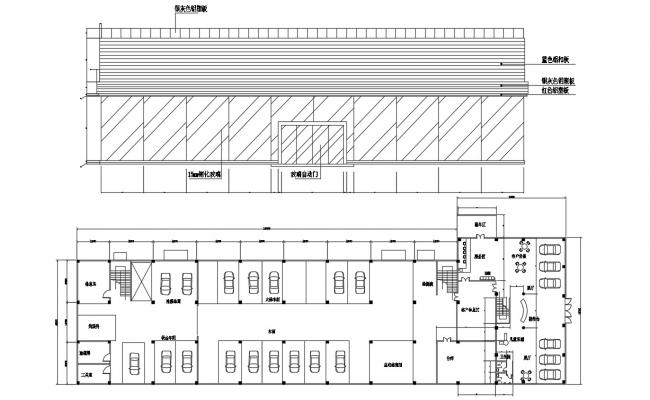Commerce Building Elevation and Column Layout CAD File