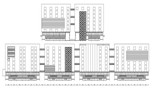 Commerce Building Facade Design AutoCAD File